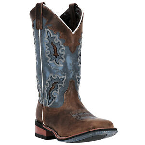 Laredo Womens Ilsa Western Cowboy Boots Distressed Leather Square Toe Lace Blue