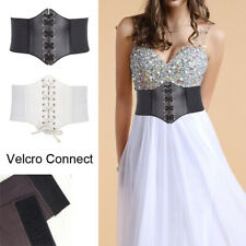 Lady Waist Cincher Wide Band Elastic Waspie Corset Belt Leather // White Color
