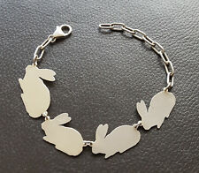 Vintage~STERLING SILVER~*BUNNY FAMILY*~*CHARM BRACELET*~RARE FIND~ CHARMING 21cm