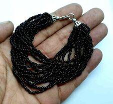 Plata Tibet Micro Perlas Pulsera Multi Strand Negro Con Bolsa De Regalo Gratis