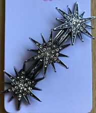 A Beautiful Metal Plateado con Pedrería Triple Estrella Pasador Clip Pelo