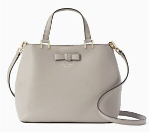Kate Spade GWYN Pershing Street Tote Satchel Bag Gray Genuine Leather Bow Silver