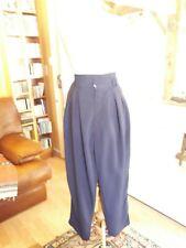 Pantalon fluide été femme bleu marine T.42 VINTAGE 80 woman fluid trouser size L