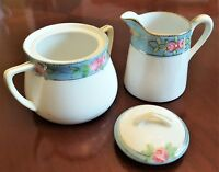 Nippon Vintage CREAMER & SUGAR SET with LID White Blue Floral Gold Moriage Trim