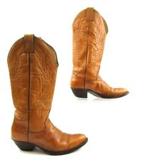 Ladies Justin Brown Leather Round Toe Cowboy Western Boots Size: 6.5 C *WIDE*