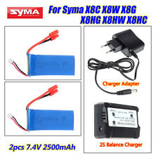 2X 7.4V 2500mAh Lipo Batteries+2S Balance Charger Kit for Syma X8C X8W X8G X8HG