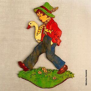 Vintage Märchen-Holzbild: 1960er Graupner Hans im Glück 19cm HEILE FEDER!!! Alt