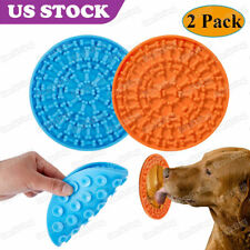 2 Pack Dog Lick Pad Slow Feeder Lick Mat for Dogs Durable Silicone Orange & Blue