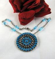 Gorgeous Faux Turquoise Squash Blossom Style   Necklace FERAL  CAT RESCUE