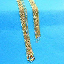 "30"" 10PCS Wholesale Jewelry 18K Gold Filled Flat Curb Necklaces Chains Pendants"