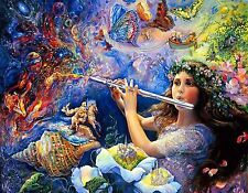 GIRL PLAYING FLUTE MAGICAL  MOUSE PAD  IMAGE FABRIC TOP RUBBER BACKED