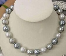 """8mm Genuine Silver Gray South Sea Shell Pearl Necklace 18"""""""