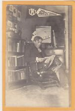 Real Photo Postcard RPPC - College Man on Glider Chair University of WI Pennant