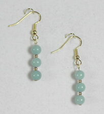 "EARRINGS 6 MM AQUA AMAZONITE BEADS 1 5/8"" GOLD PLATED HYPOALLERGENIC HOOKS"
