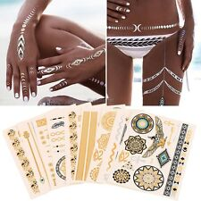 9 Sheet Temporary Metallic Tattoos Gold Silver Black Flash Tattoos Inspired UK