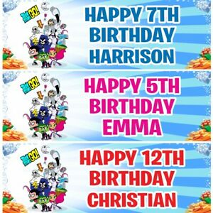 2 Personalised Teen Titans Go Birthday Decoration Celebration Banners Posters