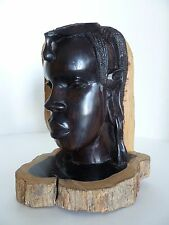 Beautiful Solid Wood Carving Sculpture African Woman Dark Brown Ebony Head Bust