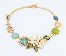 Geometric Choker Pearl Flower Branch Crystal Pave Gold Snail Statement Necklaces