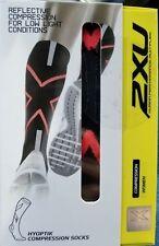 New 2XU Women's Hyoptik Compression Socks, Reflective, Black/Pink, Size XS
