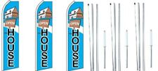 Open House with Sign Swooper Flag With Complete Hybrid Pole set- 3 pack