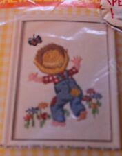 BOY CHASING BUTTERFLY vintage Crewel Embroidery Kit Pauline Denham 1974 NIP