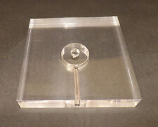 "4 1/2"" Diameter Clear Square Acrylic Lamp Base w/ Center Hole & Side Outlet #288"