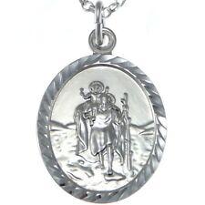 Pendentif Ovale En Argent Massif Emblème St Christophe Avec Chaîne 46cm Et Boite