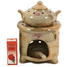 Ceramic Candle Holder Floral/Citrus/Lavender Oil Beiges,happytrees Diffuser Org