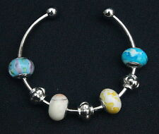 925 SilverPLated 'BLUE & CREAM' CUFF BRACELET European Glass Silver Beads Charms