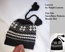Ralph Lauren womens FAIR ISLE Snowflake casmere mix beanie hat one size NEW