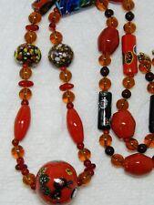 "Vintage MURANO AFRICAN TRADE BEAD MILLEFIORI Lampwork  Bead Necklace~28"""