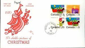 Canada FDC-BLOCK#519p+2x520p+521p- Christmas (1970) 5¢ WCB