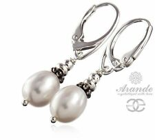 NATURAL BEAUTIFUL WHITE PEARL EARRINGS STERLING SILVER 925