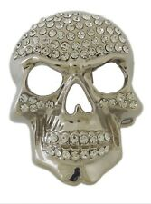 Silver Skull Belt Buckle Rock Rebel Grim  Stiff Halloween Costume Bling Pirate