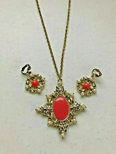 Pendant Necklace & Clip Earrings Set with Orange Cabochon & Faux Pearls