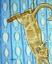 GREY CAT TRAPEZE painting ANIMAL poster ART  abstract folk pop ART  GLOSSY PRINT