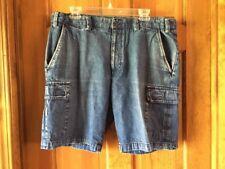 Island Republic-Mens-Blue Denim-Cargo Shorts-Sz 34