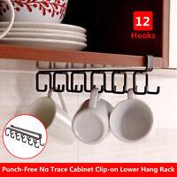 12 Hooks  Holder Kitchen Cabinet Under Shelf Storage Rack Organizer F/