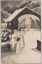 CARTE POSTALE RELIGIEUSE ANGELOTS devant la CRECHE - AGNEAUX-ANE et BOEUF