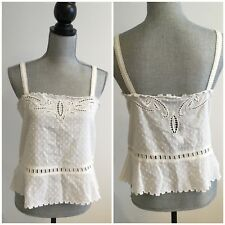 $190 THE KOOPLES Sz M Medium Crop Top Broderie Anglaise Sleeveless Shirt Cut Out