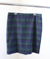 J Crew Womens The Pencil Skirt in Tartan Plaid Size 14 Wool Blend Blue Green