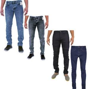 Men's Enzo Skinny Jeans Slim Fit Stretch Denim Trousers 28-36 Casual Smart Pants
