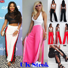 UK LADIES BUTTON SPLIT YOGA PALAZZO TROUSERS WOMENS SUMMER WIDE LEG PARTY PANTS