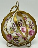 Vintage Foley Bone China Teacup And Saucer England Flower Bouquet Floral