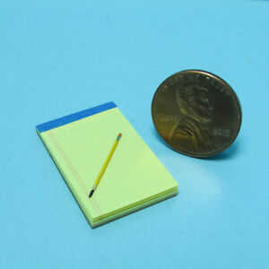 Dollhouse Miniature Replica Legal Note Pad Yellow Real Pages & Pencil HR56102P