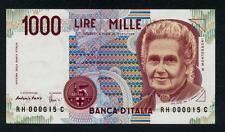 1000 Lire Montessori 1990 sr. 000015 numeri bassi FDS