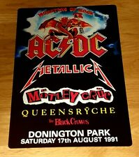 ACDC- METALLICA -MONSTERS OF ROCK CASTLE DONINGTON 1991 8X12 INCH METAL SIGN