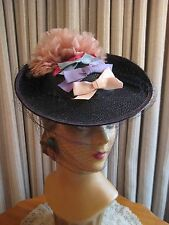 Stunning 40'S Navy Straw Saucer Tilt Hat W/Pink Feathers, Bows & Veil
