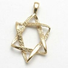 NEW 14k yellow gold Braided Jewish star of David pendant charm LARGE Judaica