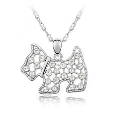 18K White Gold Plated Made with Swarovski Elements White Cute Dog Puppy Necklace